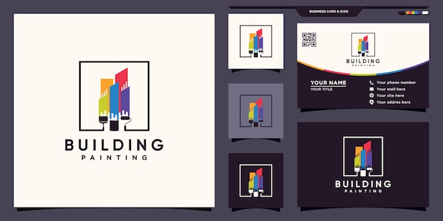 Building painting logo with rainbow color and brush inspiration logo and business card design