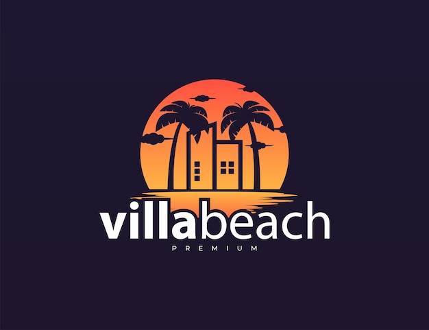 Building and palm tree with sunset logo design