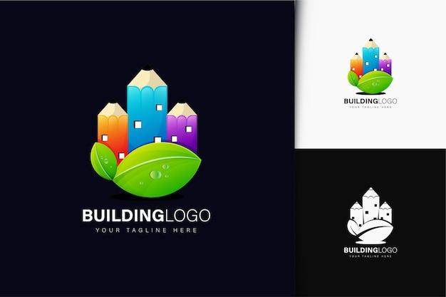 グラデーションで鉛筆のロゴデザインを構築する