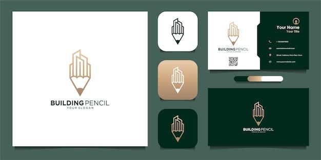 선과 명함이 있는 건물 연필 로고 템플릿 프리미엄 벡터