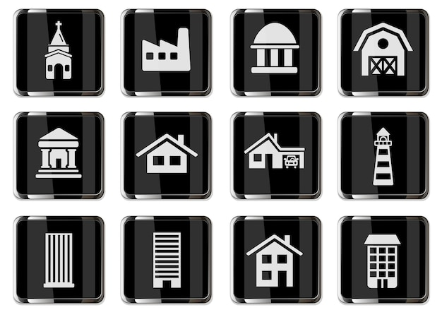 Building pictograms in black chrome buttons. icon set for your design. vector icons