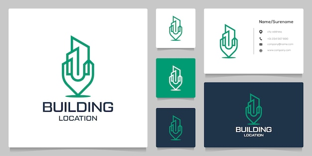 Building and pin point map location line outline logo design