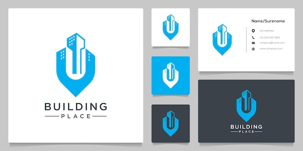 Building place pin point apartment icon real estate logo design