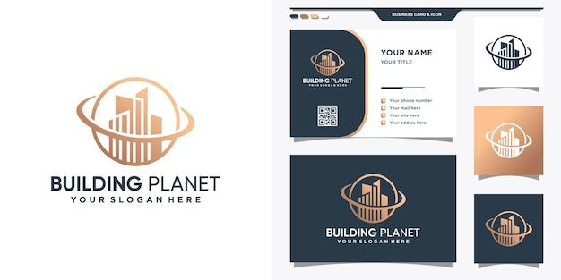 선 스타일과 명함 디자인으로 행성 로고를 구축하십시오. 영감, 일러스트레이션을위한 추상 로고 구축