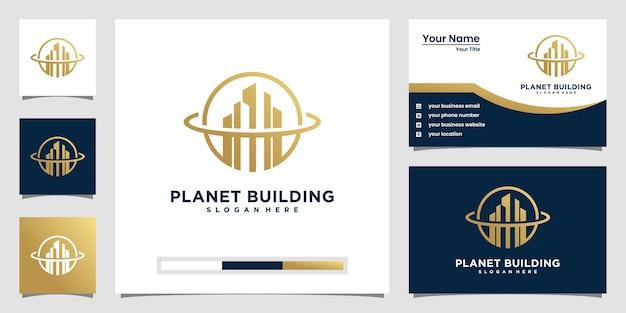 Строящая планета с концепцией линии. городское здание аннотация для логотипа вдохновения. дизайн визитки