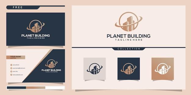 라인 개념 건물 행성입니다. 로고 영감을위한 도시 건물 개요. 명함 디자인