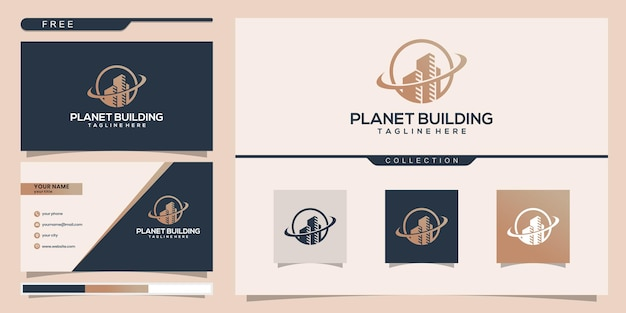 Building planet with line concept. city building abstract for logo inspiration. business card design
