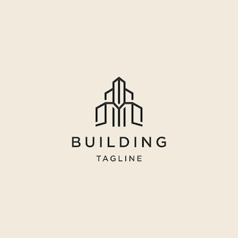 Building premium logo with line art style logo template