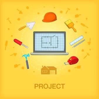 Building process concept cellphone, cartoon style