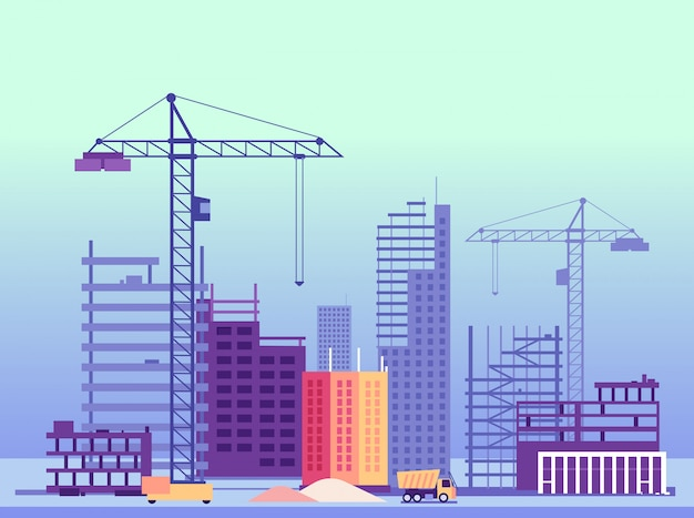 Building process. unfinished buildings and construction machines. vector illustration