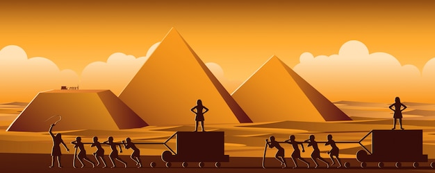 Building pyramid in egypt in ancient time