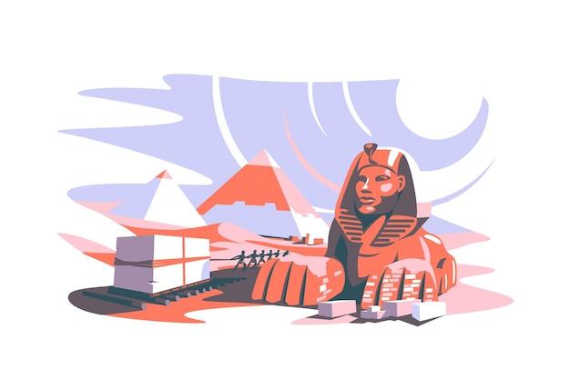 エジプトのベクトル図奴隷の人々の古代のフラットスタイルの有名な観光名所と砂漠のパノラマの概念でピラミッドを構築する
