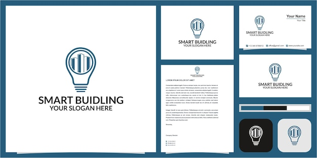Building or real estate or hotel logo in lamp concept with business card