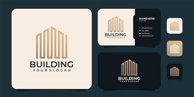 幾何学的な形と名刺でシンプルな不動産のロゴデザインの豪華な創造的な建物