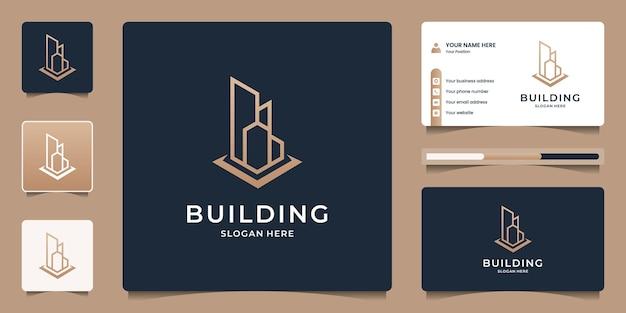 건물 부동산 로고 디자인 프리미엄. 건축, 건설, 아파트를 위한 미니멀한 스카이라인 로고.