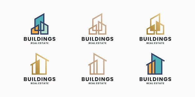 Building, real estate logo design set