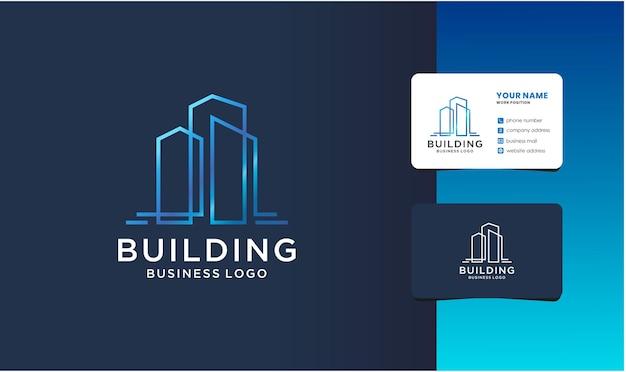 건물 부동산 로고 디자인 서식 파일입니다. 창조적 인 라인 아트 로고 컬렉션.