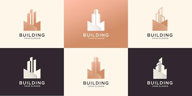 Building real estate logo icon set