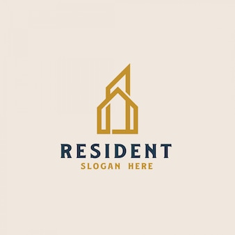 Шаблон логотипа строительства недвижимости. векторная иллюстрация