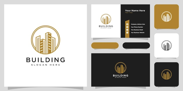 Building real estate logo vector design and business card
