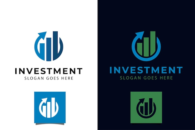 Building realty house investment logo. business invest property financial. marketing sales with arrow icon vector symbol