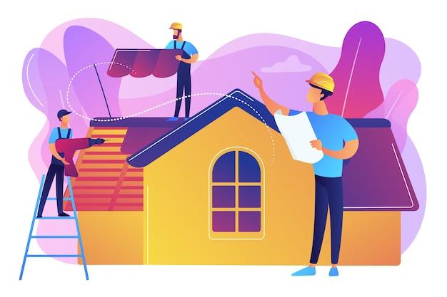 建物の修理。屋上の改修と屋根の再建。屋根ふきサービス、屋根修理サポート、ピーク屋根葺き業者のコンセプト。