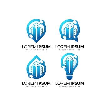 Набор дизайн логотипа ремонт зданий