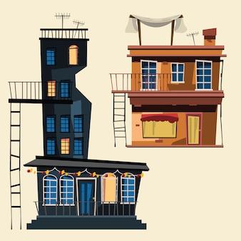 Building set in city vector illustration