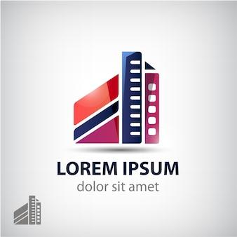 건물 모양 로고, 고립 된 형태. 회사 집, 재산