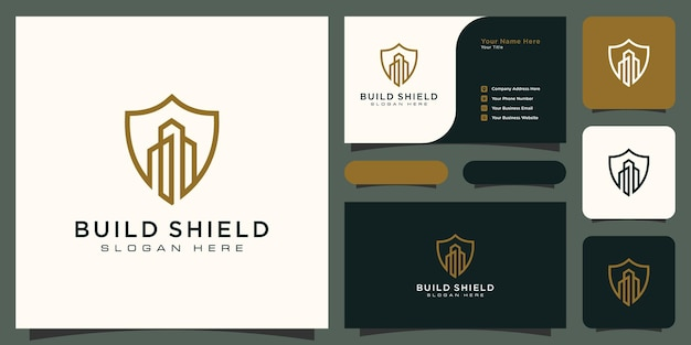 Building and shield line style logo and business card