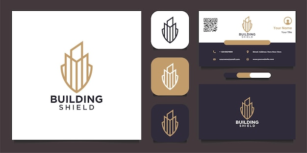 Building shield logo shape with line and business card