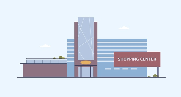 Building of shopping center with large windows and glass entrance door built in modern architectural style