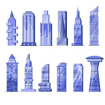 Строительство небоскреба города небоскребов и бизнес-офис здания коммерческой компании и построить архитектуру в в городской пейзаж набор иллюстраций на белом фоне