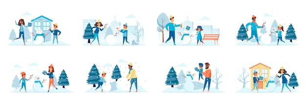 Building snowman bundle of scenes with flat people characters