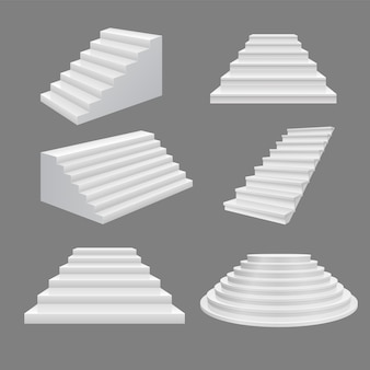 Building stairs illustration. 3d scala illustration white modern staircase set