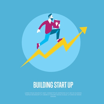 Building start up square banner with businessman