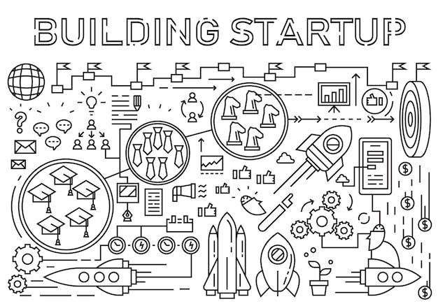 Building startup flat line design concept. startup elements doodle geometric.