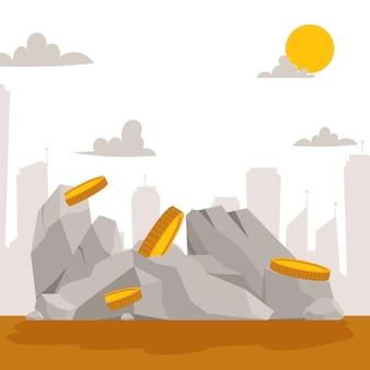 Building stones with golden coins cartoon flat.