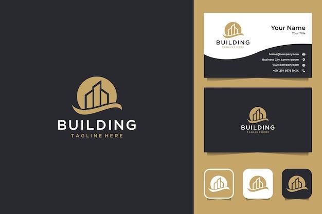 建物の日没のロゴのデザインと名刺