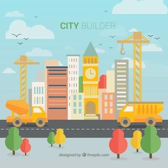 フラットなデザインの背景に都市を建設