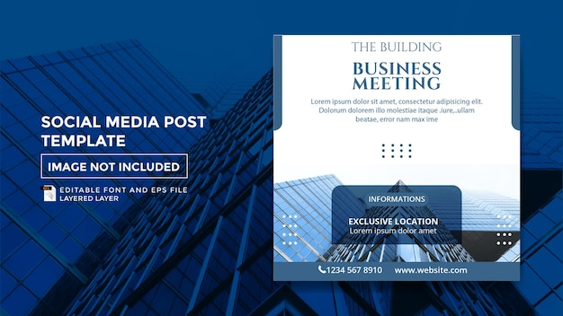 Building theme social media post template for business meeting