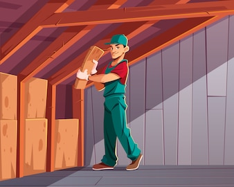 Building thermal or acoustic insulation, dwelling heat loss minimizing cartoon
