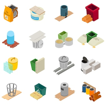 Building tool icons set, isometric style