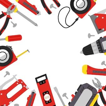Строительные инструменты в красно-серых и желтых тонах, отвертка, мебельные степлеры, гаечные ключи, плоскогубцы