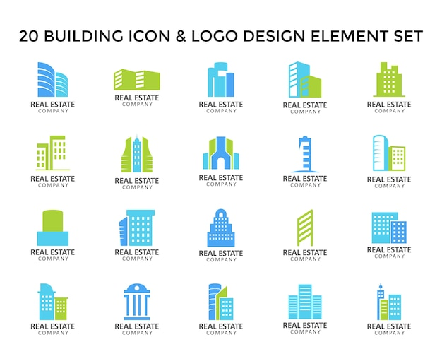 Building tower icon logo design set