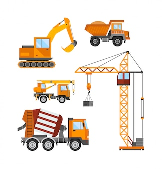 Строящееся здание, рабочие и строительная техника векторная иллюстрация