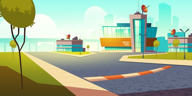 Building university of science cartoon illustration