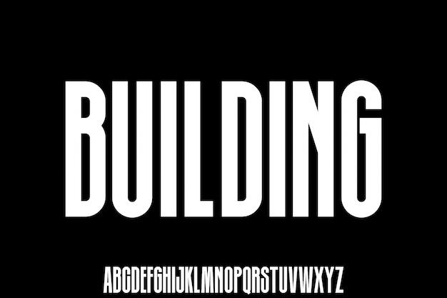 Building, urban condensed modern font