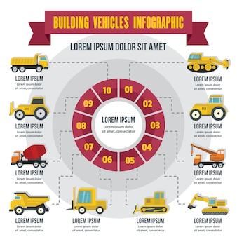 Building vehicles infographic, flat style