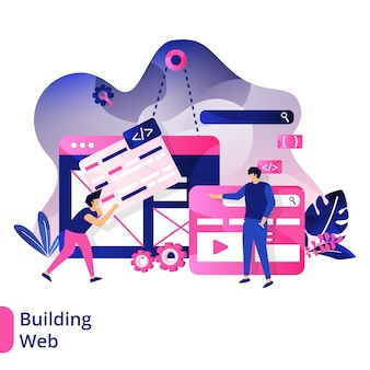 Building web, the concept of people carrying web boards